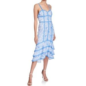 Alice + Olivia blue and white lace dress